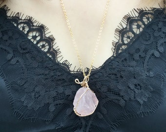 Pink Crystal Necklace, Crystal Necklace, Crystal Pendant, Stone Necklace, Crystal Jewelry, Layering Necklace, Birthday Gift, Bridal Gift