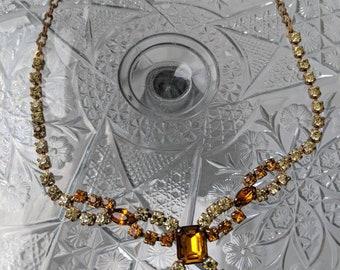 Yellow & Topaz Rhinestone Necklace