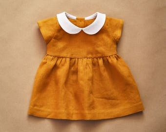 Linen Dress, Baby Dress, Peter Pan Collar, Mustard Linen, Baby Girl Clothes, Baby Shower Gift, Kids Linen, Cpming Home Outfit, Baby Gift
