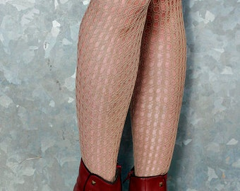 Vintage High Quality Beige Skin Tan Holes and Striped Nylon Stockings Tights Size 12