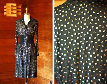 vintage 1970s Pat Sandler black and gold sheer sequin dress / size xs small