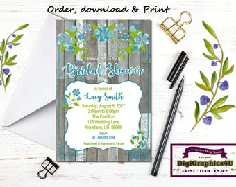 Foliage or Floral Bridal or Rustic Wedding Shower, Luncheon, Shabby Chic Invitation - Printable File - Customized for You