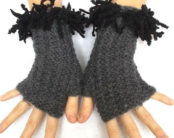 Fingerless Gloves Hand knitted Wrist Warmers in Grey Black Fringes women accessory