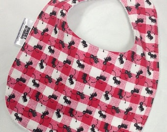Spring Sale Picnic Feast - Infant or Toddler Bib - Terry Cloth Backing - Reversible with ADJUSTABLE Snaps