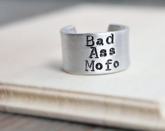 Mens Ring, Bad Ass Mofo, adjustable, wide band, funny jewelry, womens, gag gift, silver, swear words, profanity, new job gift, class of 2017