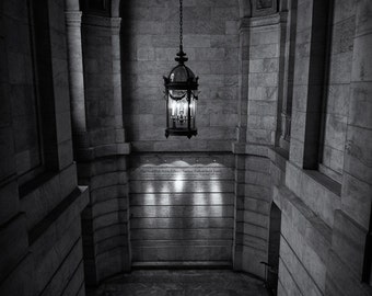 NYC Public Library Lantern, Manhattan, New York City, Architecture, Black and White, Sepia - Travel Photography, Print, Wall Art