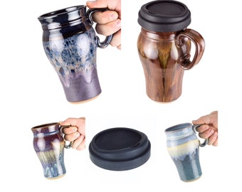 Wheel thrown pottery travel mug- fits in car cup holder! Optional lid / Ceramic travel mug / handmade travel mug / MADE TO ORDER (6 weeks)