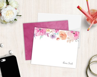 Personalized Stationery Set | Flat Notecard Set | Die-Cut Notecards | Personal Stationery | Watercolor Floral Notecard | Set of 10