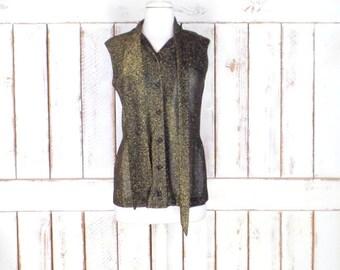 70s vintage black metallic gold sheer sleeveless blouse/bow tie sheer metallic shirt/button down top