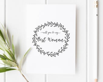 Will you be my Best Woman Card // Wedding Role Proposal Card // Wedding Duty Request // Hand Drawn Wreath // Rustic  // Boho wedding