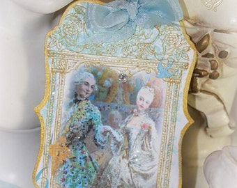 Tags, Favor, Gift Tag, Marie Antoinette Danse de Versailles Set of Six Baroque Die Cut, Hand Painted Gold Gilded and Glittered Tags