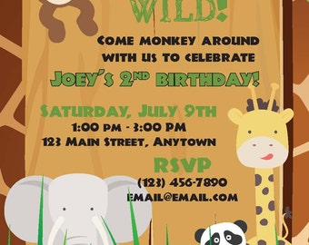 Safari/Jungle/Zoo Birthday Invitation