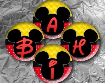 "Mickey Alphabet -  30 Images in 1 Inch Circles 4"" x 6"" Digital Collage Sheet For Bottle caps, Cupcake Toppers"