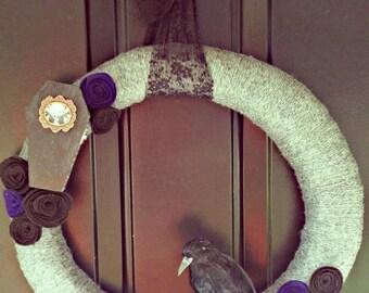 Halloween yarn wreath (coffin, crow, roses)