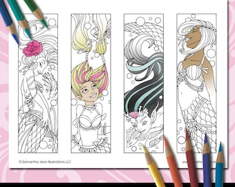 Mermaid Coloring Bookmarks, Printable Bookmarks, Mermaid Coloring Pages, Adult Coloring, Coloring Pictures, Fantasy Bookmark