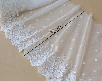 5 yards 32-42cm wide ivory mesh fabric embroidery tapes lace trim ribbon D37F9Y0430E free ship