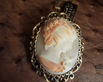 Vintage sterling silver pendant-brooch with gold overlay hand made ornate cameo