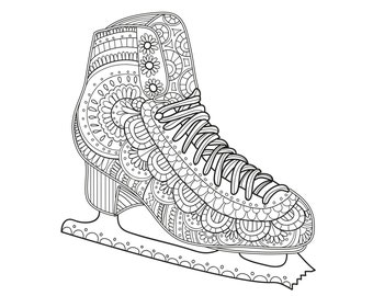 2 Printable Coloring Pages Zentangle Figure Skating Coloring