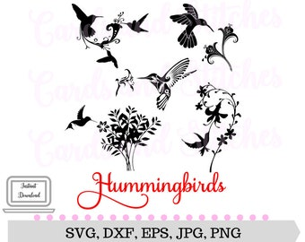 Hummingbirds SVG - Hummingbird with Flowers SVG - Digital Cutting File - Graphic Design - Instant Download - Svg, Dxf, Jpg, Eps, Png