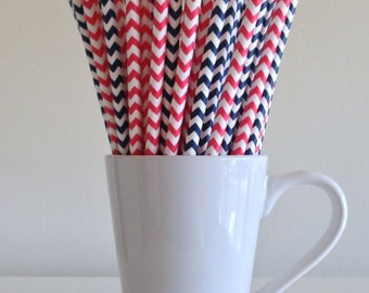 Red and Navy Blue Straws Paper Straws Nautical Theme Party Supplies Party Decor Bar Cart New England Patriots Party Supplies Graduation