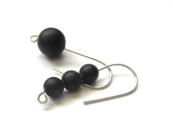 Stainless Steel Earrings, Round Matte Shungite Earring, Asymmetric Black Earrings For Women, Gifts For Her, Everyday Earrings.