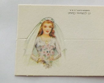 Vintage die cut pastel wedding or bridal shower place card with bride by Gibson new old stock nos ephemera