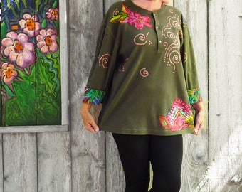 Plus size Levi henley, artsy tunic, army green, size 1X, gypsy top, cotton, Carole Little applique, oversize, one size, one of a kind