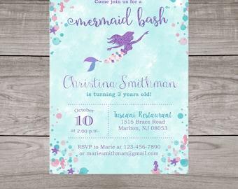 Mermaid Birthday Invitations Printed & Shipped to You! - Summer Birthday Invitations for Girls - Birthday-108