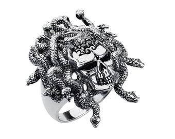 Solid Sterling Silver Medusa Skull Ring available in Multiple Sizes.