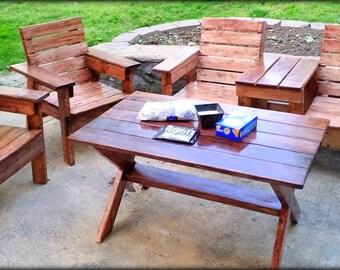 Wood patio furniture | Etsy