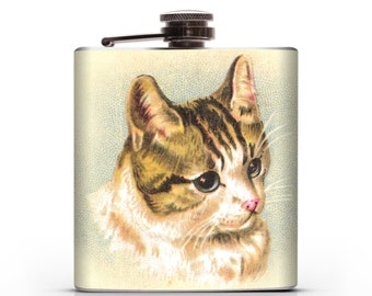 Sweet Vintage Kitten -  6oz Liquor Hip Flask