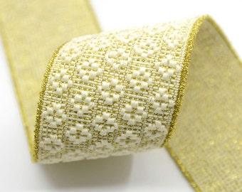 2 inch ( 50mm ) Wide Glitter Embroidery Jacquard  Gold Elastic, Waistband Elastic ,Sewing Elastic, 11130
