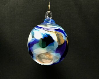 Hand Blown Glass Christmas Ornament (Color Name: Seashore)
