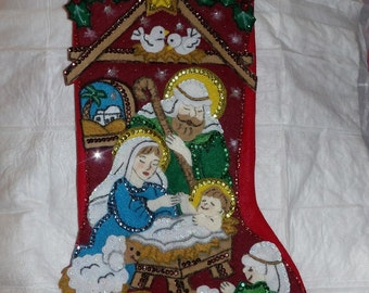 Finished handmade 17 inch felt Christmas stocking with the Nativity scene - fsk21