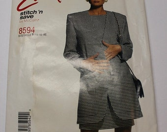 CLOSING SALE McCalls Easy Stitch and Save - diy power suit pattern - 8594 - make your own power suit, blazer / jacket and dress Plus Size 14