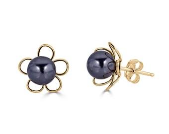 Black Pearl Stud Earrings Gold, College Graduation Gift for Her, Bridesmaid Earrings Pearl, Maid of Honor Gift, Wedding Gift, Sada Jewels