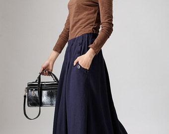 maxi skirt, blue linen skirt, skirt with pockets, elastic waist skirt, maxi linen skirt, womens skirts, pleated skirt, plus size skirt  900