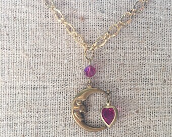 Vintage Pididdly Links Smiling Moon and Heart Necklace