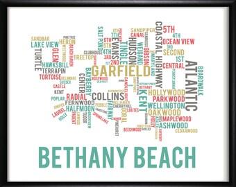 Bethany Beach Delaware Typography Street Map-FREE SHIPPING