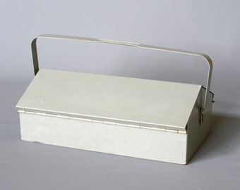MEWA Metal Tool Box, Wilhelm Kienzle Utility Box, Swiss Designed Toolbox, Made in Switzerland, 1950s Mid Century, Industrial Metal Box