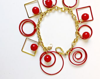 Vintage Cherry Red and Gold Geometric Charm Bracelet