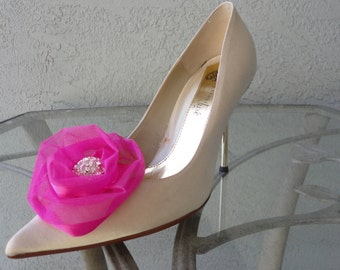 Wedding Bridal Hot Pink Organza Rose And Rhinestone Shoe Clips More Colors Available
