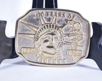 Liberty 100 Statue Buckle Years 1986 Belt Vintage 1886 Year Gold Commemorative Anniversary Centennial Pewter Metal