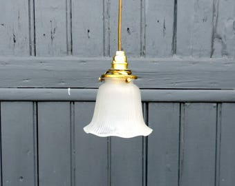Vintage French, frosted pressed glass ceiling or pendant light from the 1930s