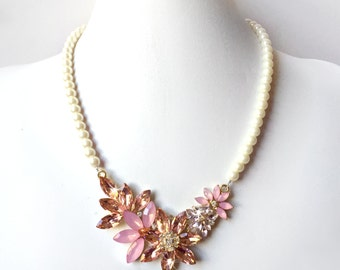 Necklace - Blush Centerpiece Pearl Necklace - Pink, Ivory or White Pearls - Floral Gold Statement Bridal Bib - Peach Pink Champagne Crystals