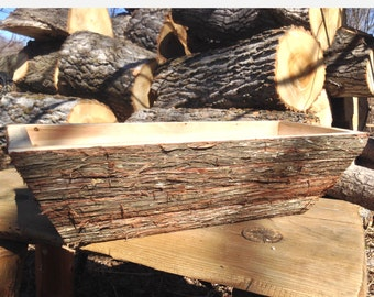 Log Flower Box, Log Planter, Rustic Planter Box, Garden Box, Garden Planter