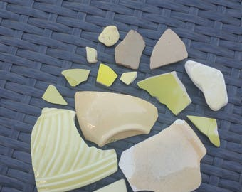 Yellow Cream Sea Pottery Beach Pottery Genuine Surf Tumbled Lot