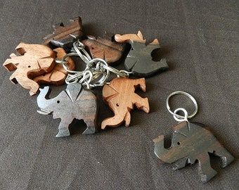 Elephant Keychain carved wood, home decor ethnic black and Brown ebony wood