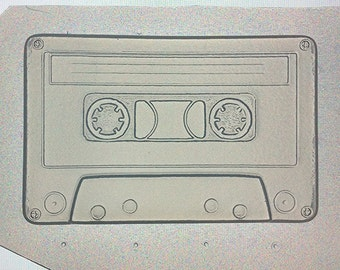"""Flexible Resin or Chocolate Mold Custom Cassette Tape Mould 4"""" in Length x 1/4"""" Deep"""
