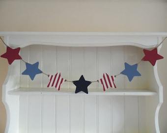Stars and Stripes Wooden Garland-Hand Painted Wooden Star Bunting-Red-White-Blue-Home Decor-Gift for Kids-Nursery Decor-Baby Shower Gift